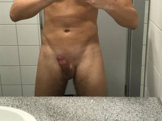 Completely naked at the public area of the bathroom/toilet at work. Do you want to meet me there? ;)