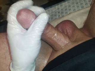 Playing with my big oily cock