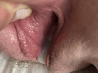 My pussy is still tingling I love looking at his cum overflowing from my cunt. Will someone fuck this cum back into me?