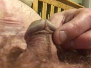 Playing with my horny but soft little cock.