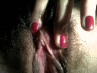 Lovely wet and hairy pussy, longing to be licked.