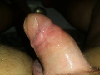 Getting ready for her to ride my cock and bust inside her wet pussy