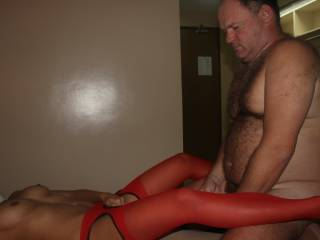 Rochelle in sexy red nylon stockings.