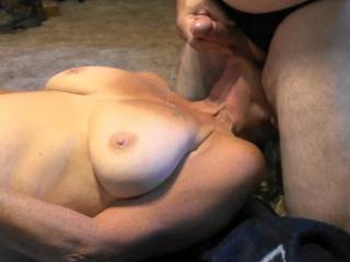One of four photos showing cumshot from beginning to end of my first Rope. GF knows that sucking my balls will do it every time, She loves receiving a Pearl Necklace.  Are those some gorgeous tits or what??  Anybody wanna clean her/us up?