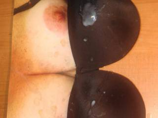 Shot my 7th warm thick cum load on Sweet T\'s tits and GF\'s black bra. Her request in exchange for some cock tribute pics!