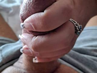 I love the feeling of his cock in my hand!