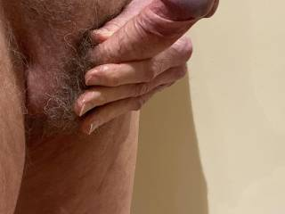 Would you like to run your tongue around my corona now that I have pulled my foreskin right back.