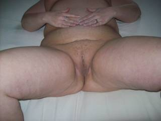 Mrs Daytonohfun spreading her pussy showing me she's ready to be fucked.  She gets shared by her hubby, anyone want to help me fuck her?