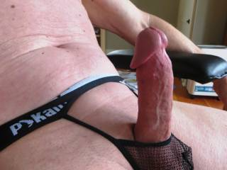 Nice sexy thong...and cock.  I love how it holds your cock up so that I can sit on it and  take it for a nice long ride.  Wanna fill my pussy with your cum?  MILF K