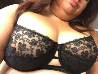 beautiful tits in a very sexy black bra, love to cover your with my rich thick cum