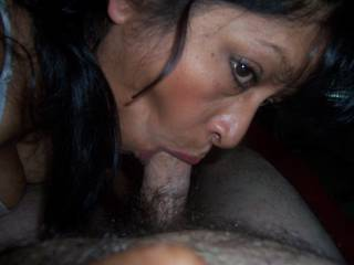she looks so hot and sexy sucking your cock good! xx