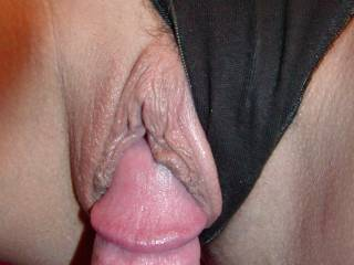 i'd say any view of that sweet pussy is fantastic....especially if that were my fat one in there!!!
