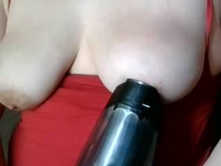 Vacuum sucking on my tits
