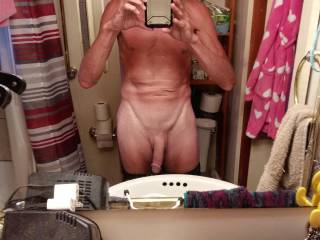She said to take a pic of my hanging cock and six pack. Nice for 65 yrs old dont you think?