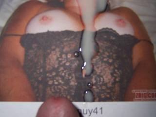 Mrs natureguy41 has a lovely cleavage, don\'t you think? Even better with some freddie juice on it