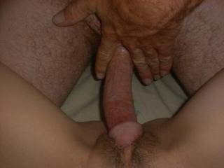 Just sliding my hard cock into my companions warm wet pussy....who wants to be next??