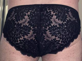 Black lace back with a gold sparkly front