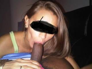 Girl sucking me right, trying to fit it all down her throat