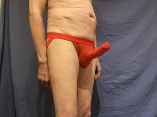 Stretching out in the red undies.