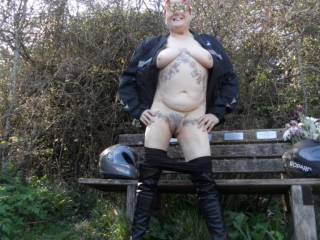 hi all hubby repaired the bike the sun is out I am feeling horny so why not? dirty comments welcome mature couple