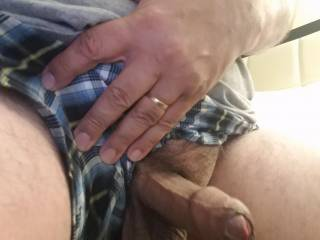 My cock isn\'t very long but my balls are big and hang down about 5 inches!