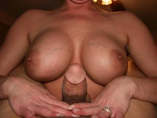 I'd love my cock between yoir tits too. Lovely tits and hands.