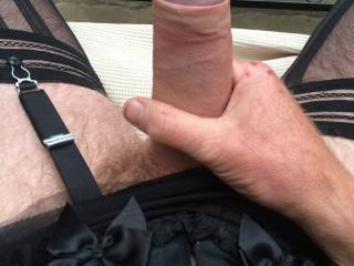 So am I now!! I just love your beautiful, thick, un-cut cock, framed in those stockinged legs.....just delicious.....xx