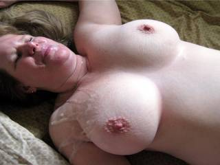 lovely breast all covered in mmmm sweet Cum