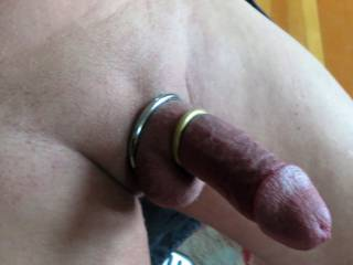 feeling really good with cock rings on, shirt pulled up and pants pulled down