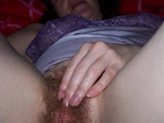 Yvonne, I'd love you to spread your legs wide open and expose that hairy wet cunt for me!!  Love to kiss, lick and tongue your wet hairy cunt then slide my throbbing cock balls deep inside you and pump in and out of your hairy pussy filling you with my hot, creamy sperm!!  Love to have hot, slutty sex with you for days on days!!