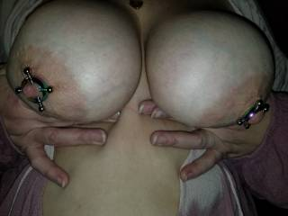 Wife showing of her new nipple rings