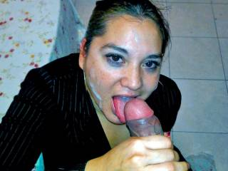 She left a meeting with her boss, came home, knelt in front of me, took out my cock and devoured it to taste my cum, then she left.