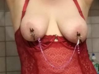 Sin\'s big tits and nipple clamps