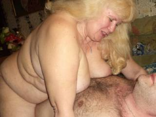 See granny has an orgasm, she jumping on my cock, emotions on her face