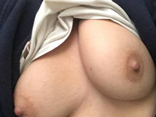 Flashing my tits before getting dressed for work