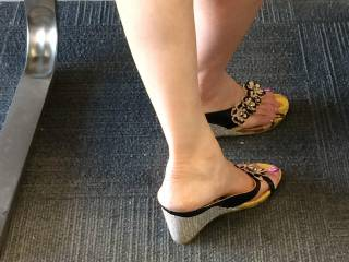Ouk at the bank wearing her sexy asian wedges..mmmmmm ..if you were in line waiting  too and you had a foot fetish ..what would you be doing ???????