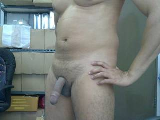 Feeling horny during lunch break, so went to the store room to cool off in the nude.....