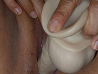 Oh that pussy an dildo mhmm so sexy. I bet it feels great can I lick it