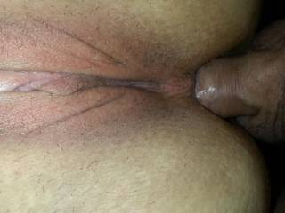 I love taking his big cock in my tight little ass.