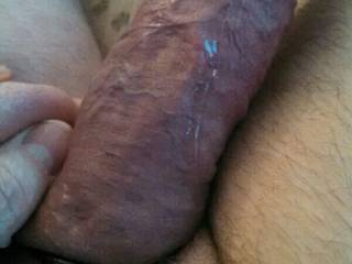 My semi flaccid cock covered with precum!  What a mess!  Will you clean it up for me?