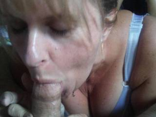 Val sucking me off before going to her girlfriends house for a lesbian sleepover.