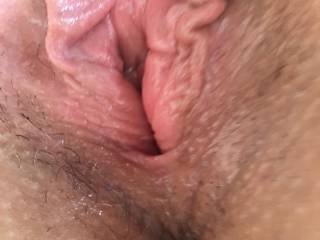 My wife pussy was freshly fucked ,filled and swollen.