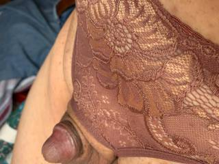 Thought that I would try on these crotchless panties.  How does my cute little cock look in them?  I love this view.