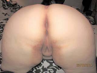My wife already in position for you to go balls deep - how long do you think you could last before draining your cock inside her?
