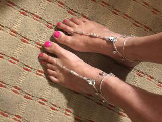 She doesn't stop trying to turn me on with her feet. Would you cream on them?