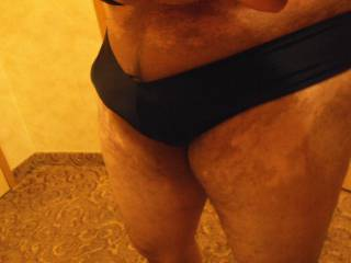 Old pics:  Trying on some Brazilian bottoms ;)  Frontal bulge!