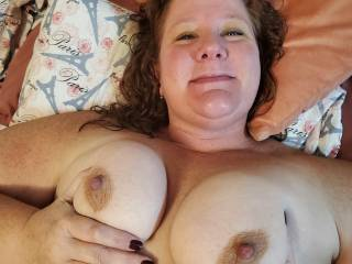 Big smile showing her tits and niplles