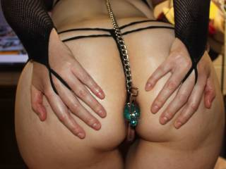 collar, chain, butt plug what a combo