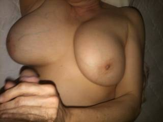 Big Tit Married friend had a pussy full of my cum while giving me attention from her hand and mouth to get me back for round two.  Skinny little girl with natural DD\'s