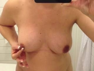 oh Liz, I love to watch you play with our sexy boobs....Ill bet your pussy tingles as you squeeze your nipples hard xxx